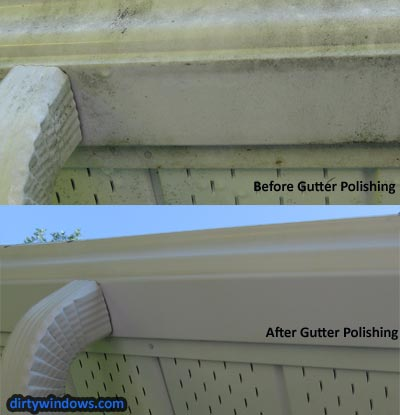 eavestrough cleaning before after